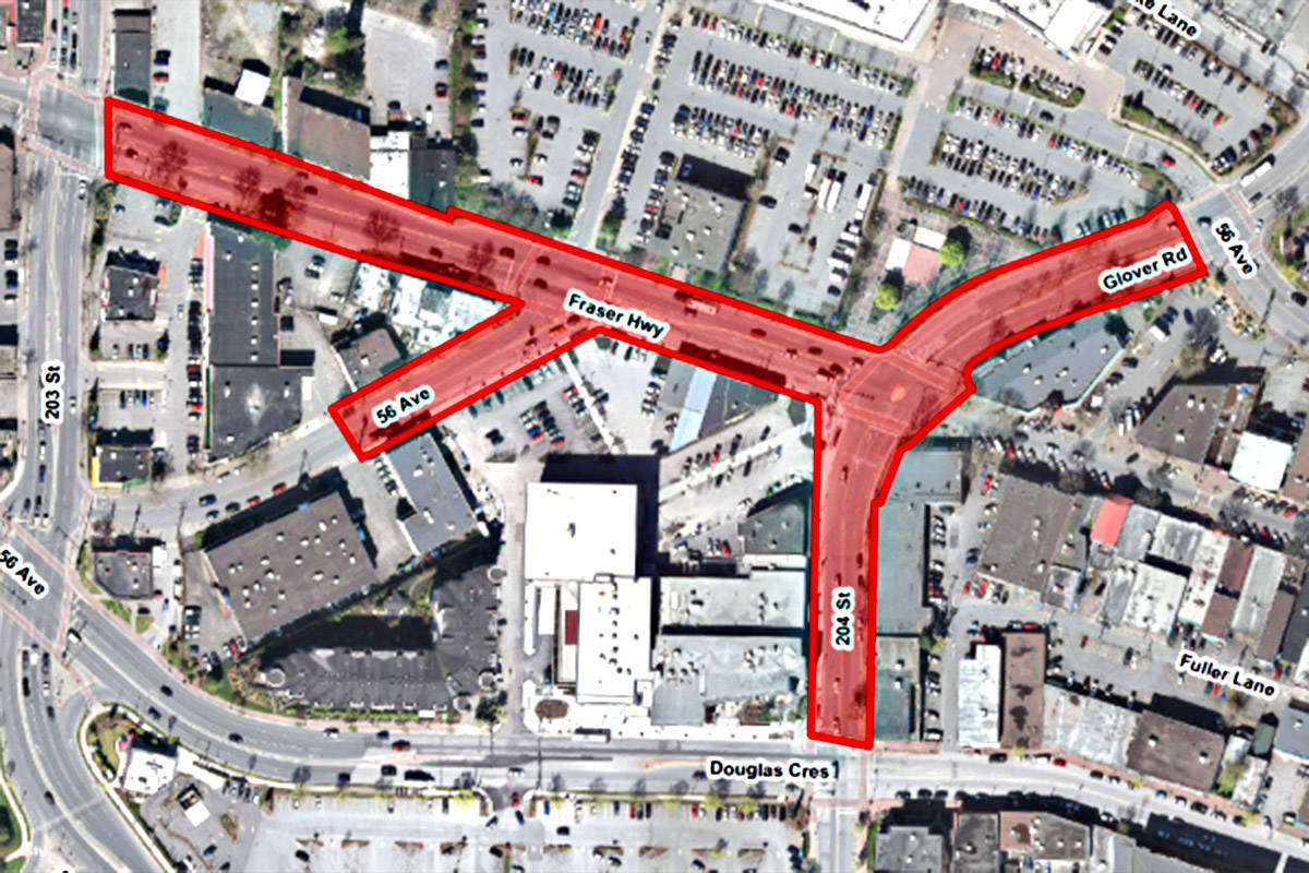 Langley City's map on the temporary road closures in place until Monday, Jan. 14.