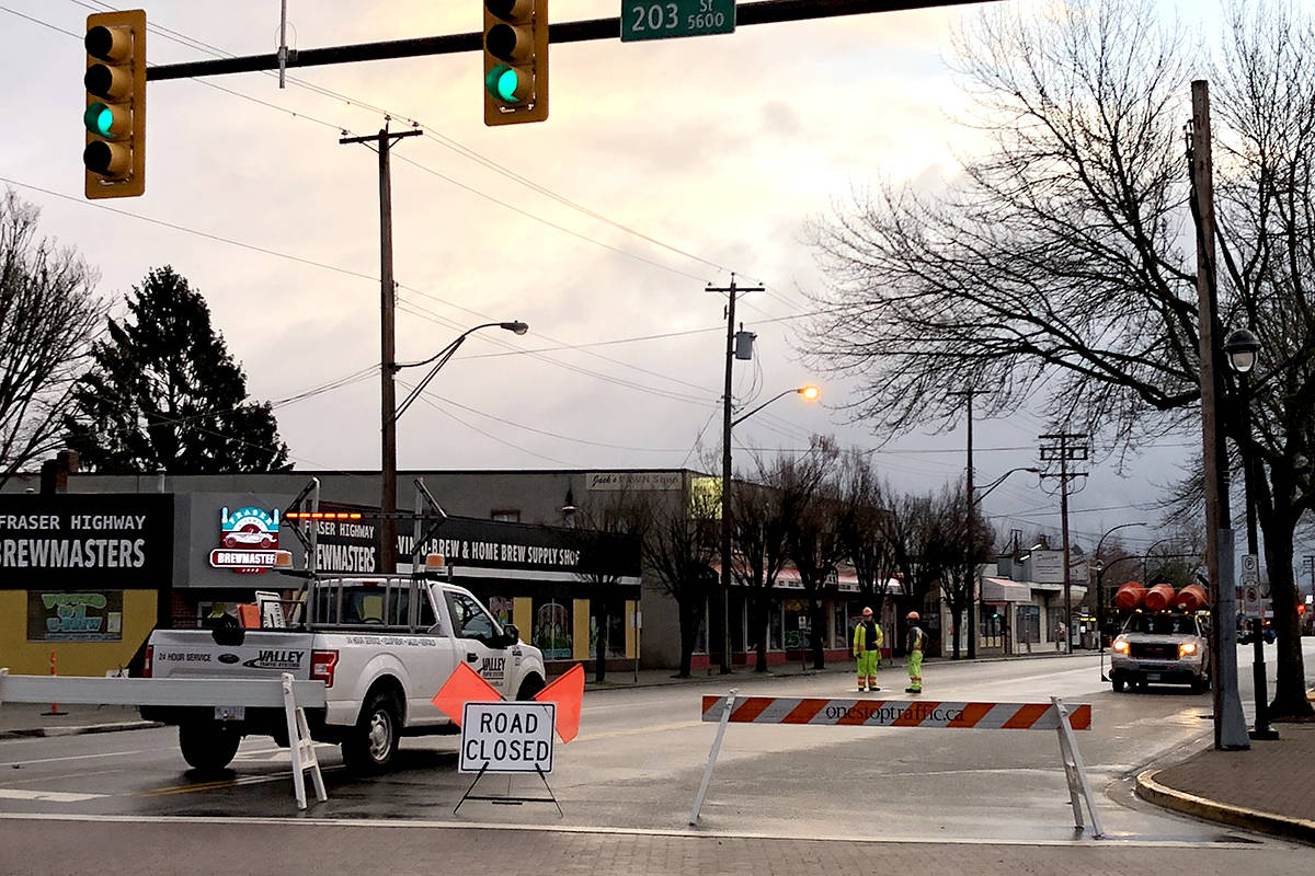 Some areas of downtown Langley City are closed to traffic until early Monday, Jan. 14. (Mirand Fatur/Black Press)
