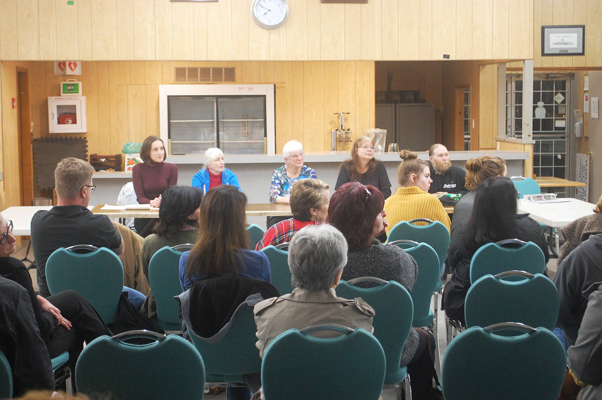 KURT LANGMANN PHOTO About two dozen people attended the Alder Grove Heritage Society meeting to save the former fire hall Thursday. At the head table were (left) vice president Brit Gardner, director Teresa Spring, treasurer June Speedie, secretary Tami Quiring and director Scott White.