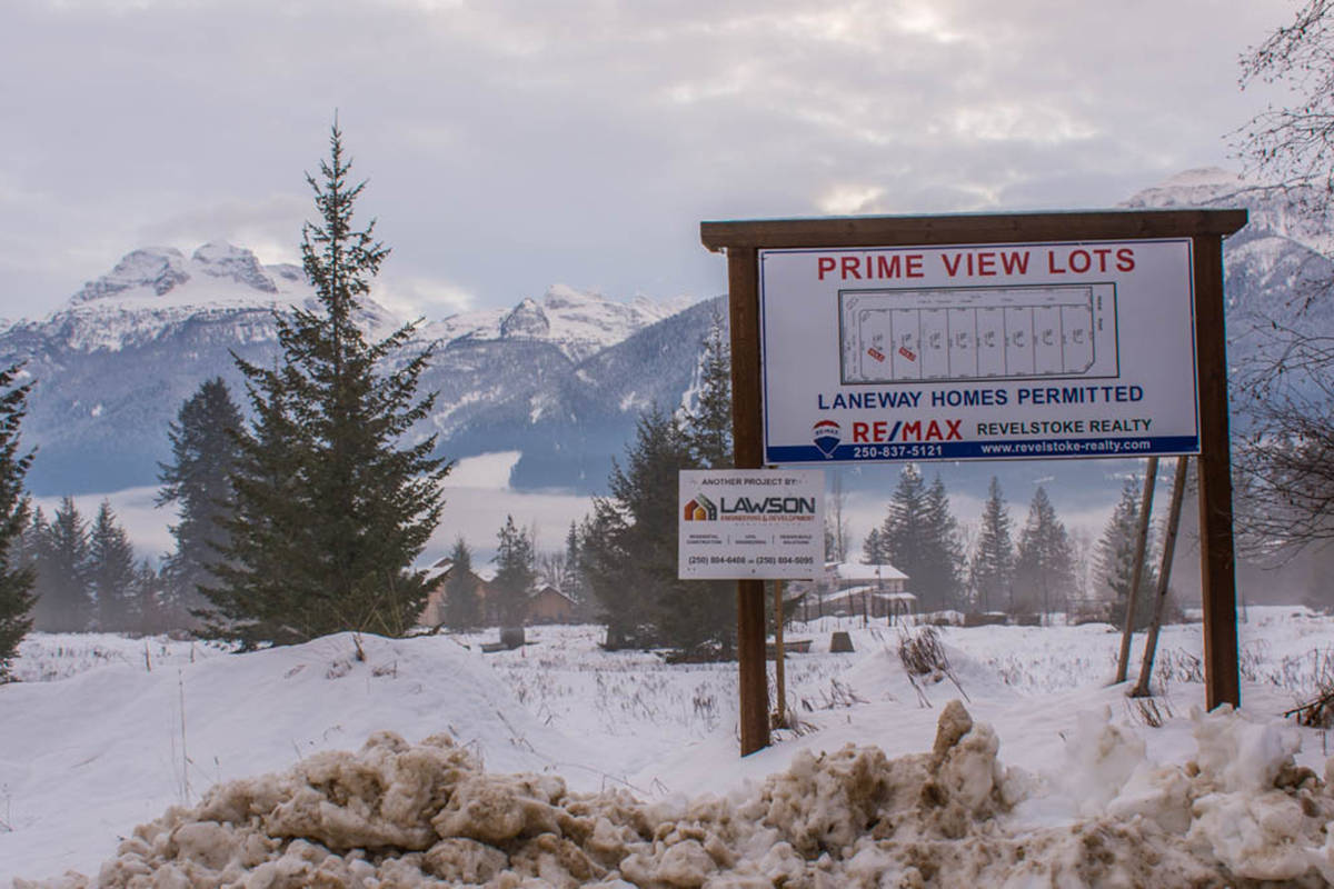 One of Gregg's subdivisions for laneway housing on the intersection of Airport Way and Nichol road. (Liam Harrap/Revelstoke Review)