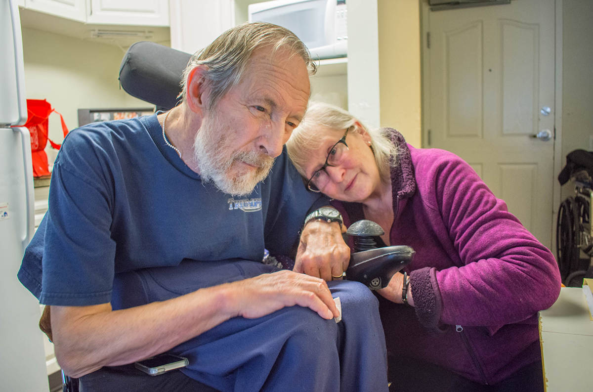 Ken Kushner and Verna Myers. This photo was taken while Kushner lived in Moberly Manor. Soon after Kushner suffered a series of falls and is currently in the acute care wing of the Revelstoke hospital. Kushner has lived in the trailer park since 1994. (Liam Harrap/Revelstoke Review)
