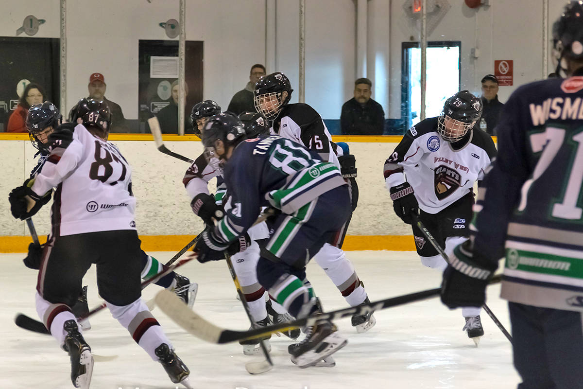 The Fraser Valley Thunderbirds in their semi final win against the Valley West Giants at the Acura Winter Classic in Coquitlam. Matthew Bourdon photo