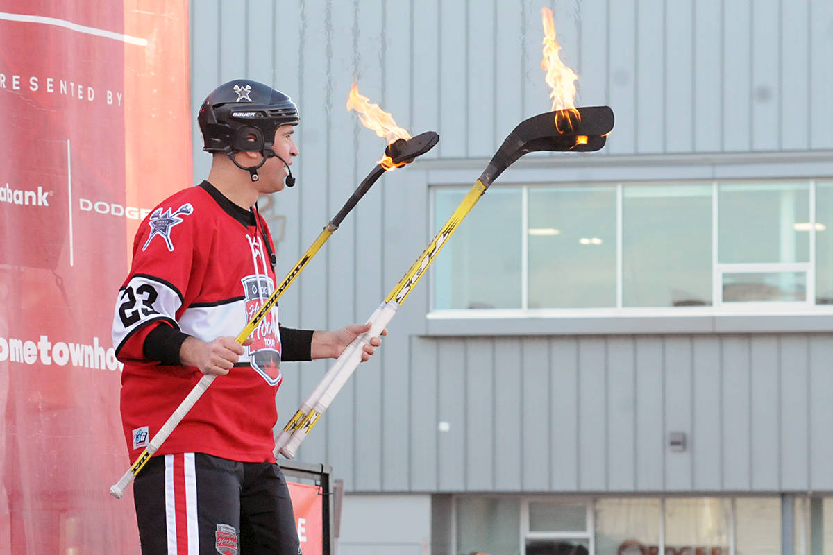 What could be more Canadian than a juggler with hockey sticks? It was the Hockey Circus Show, part of the live entertainment at the Rogers Hometown Hockey tour in Langley City. Black Press photo