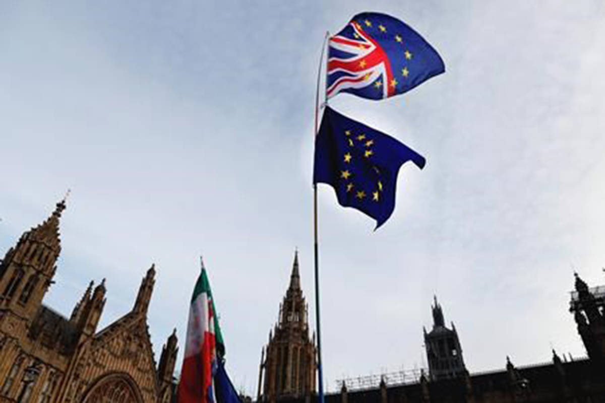 A Pro-European demonstrator raises flags to protest outside parliament in London, Friday, Jan. 11, 2019. Britain's Prime Minister Theresa May is struggling to win support for her Brexit deal in Parliament. Lawmakers are due to vote on the agreement Tuesday, and all signs suggest they will reject it, adding uncertainty to Brexit less than three months before Britain is due to leave the EU on March 29. (AP Photo/Frank Augstein)