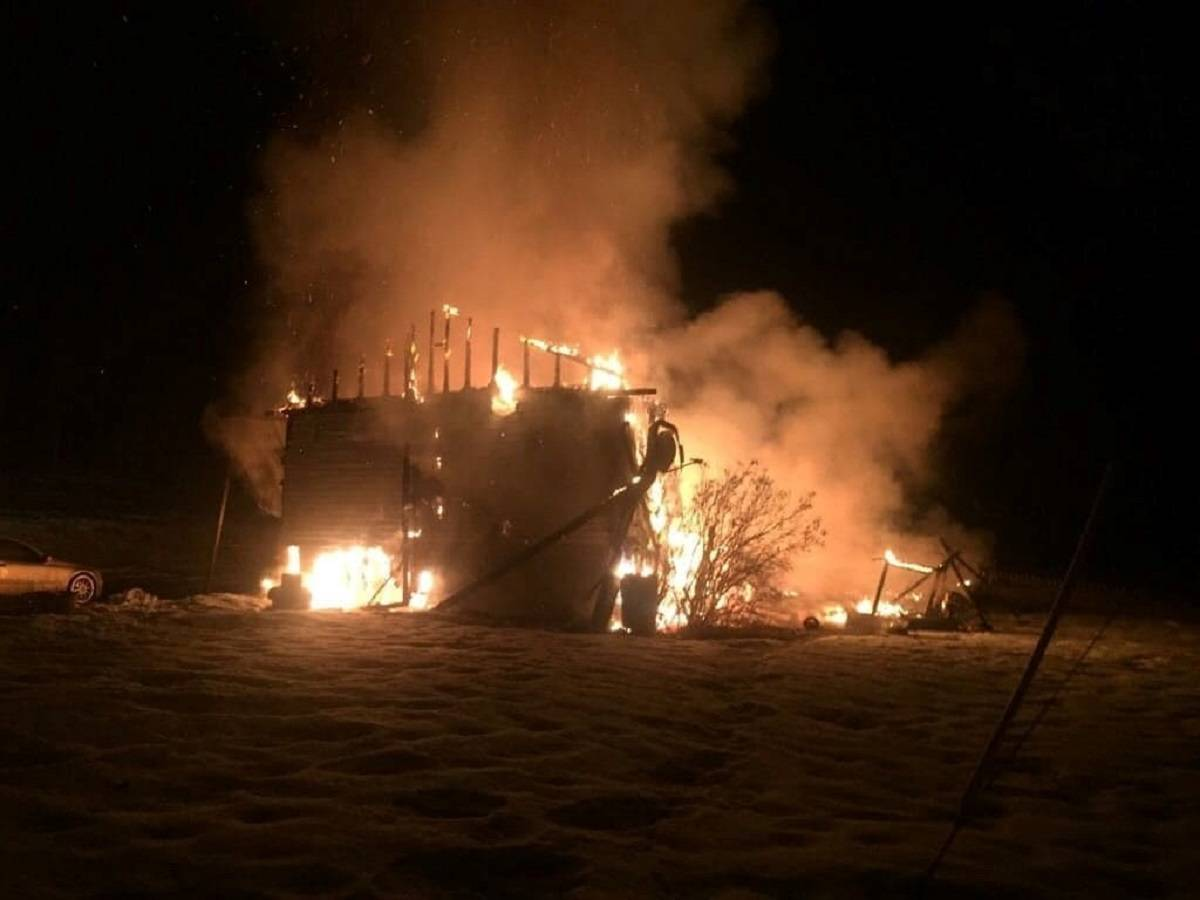 A home was destroyed by fire on the Mountain House Road north of Williams Lake Monday. Photo submitted