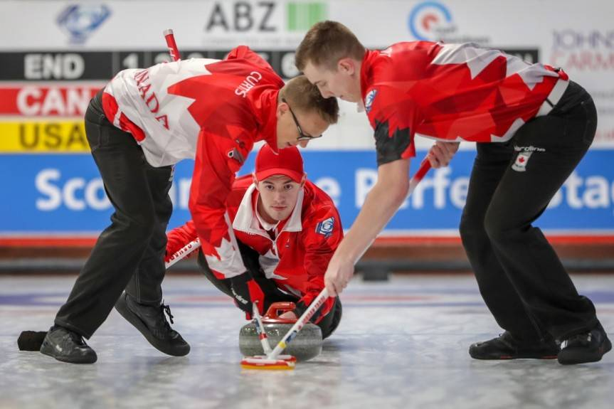 Team Tardi is set to go for gold against Scotland at the world junior curling championships. Richard Gray/ World Curling Federation                                Team Tardi, in its new incarnation, is at the nationals in Saskatchewan this weekend. This picture was captured last year, when they won the gold against Scotland at the world junior curling championships. (Richard Gray/ World Curling Federation)