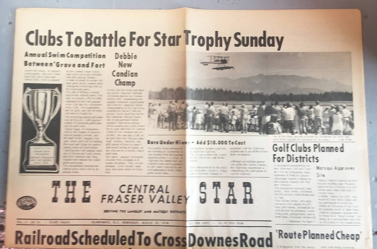 Front page of The Aldergrove Star (then called The Central Fraser Valley Star) featured an Abbotsford Air Show photograph taken by then 13 year old Kurt Langmann. Thus began a five decade career in newspapers…