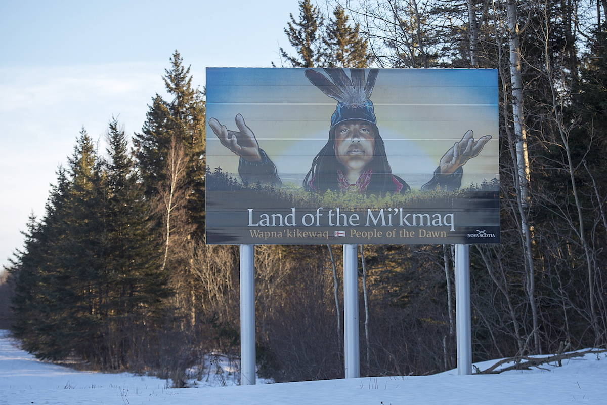 A billboard-size highway sign that highlights the province's rich Mi'kmaq heritage stands along the Trans-Canada Highway near Amherst, N.S. on Monday, Jan. 14, 2019. THE CANADIAN PRESS/Andrew Vaughan