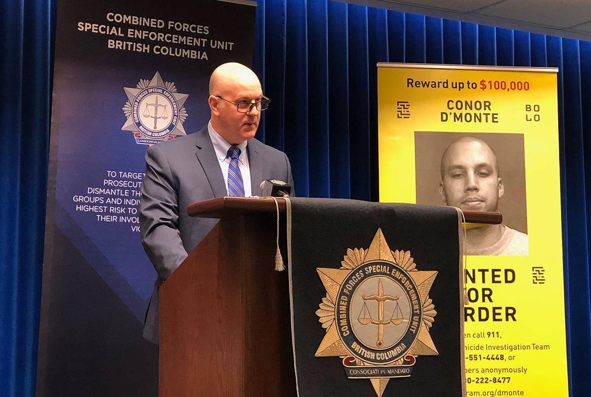 Combined Forces Special Enforcement Unit chief officer Trent Rolfe announces its latest strategy in finding wanted gangster Conor D'Monte at BC RCMP Headquarters Jan. 30, 2019. (Ashley Wadhwani/Black Press Media)