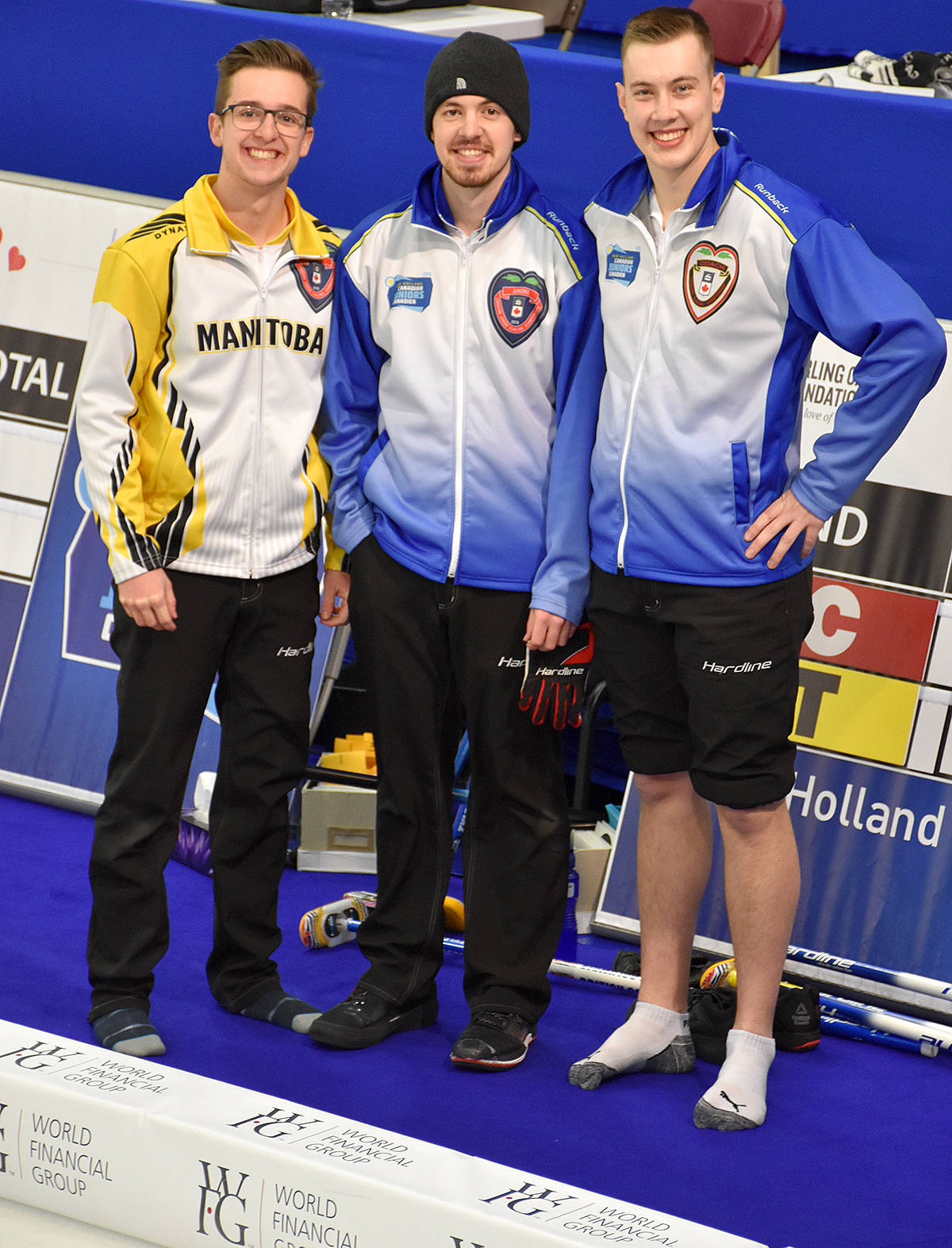 Jacques Gauthier of Manitoba had a chance to visit with his cousins off the ice during the junior nationals in Quebec. Now, he's joining his relatives Tyler and Jordan Tardi as a fifth at the world juniors in Scotland next month. (Special to the Langley Advance)