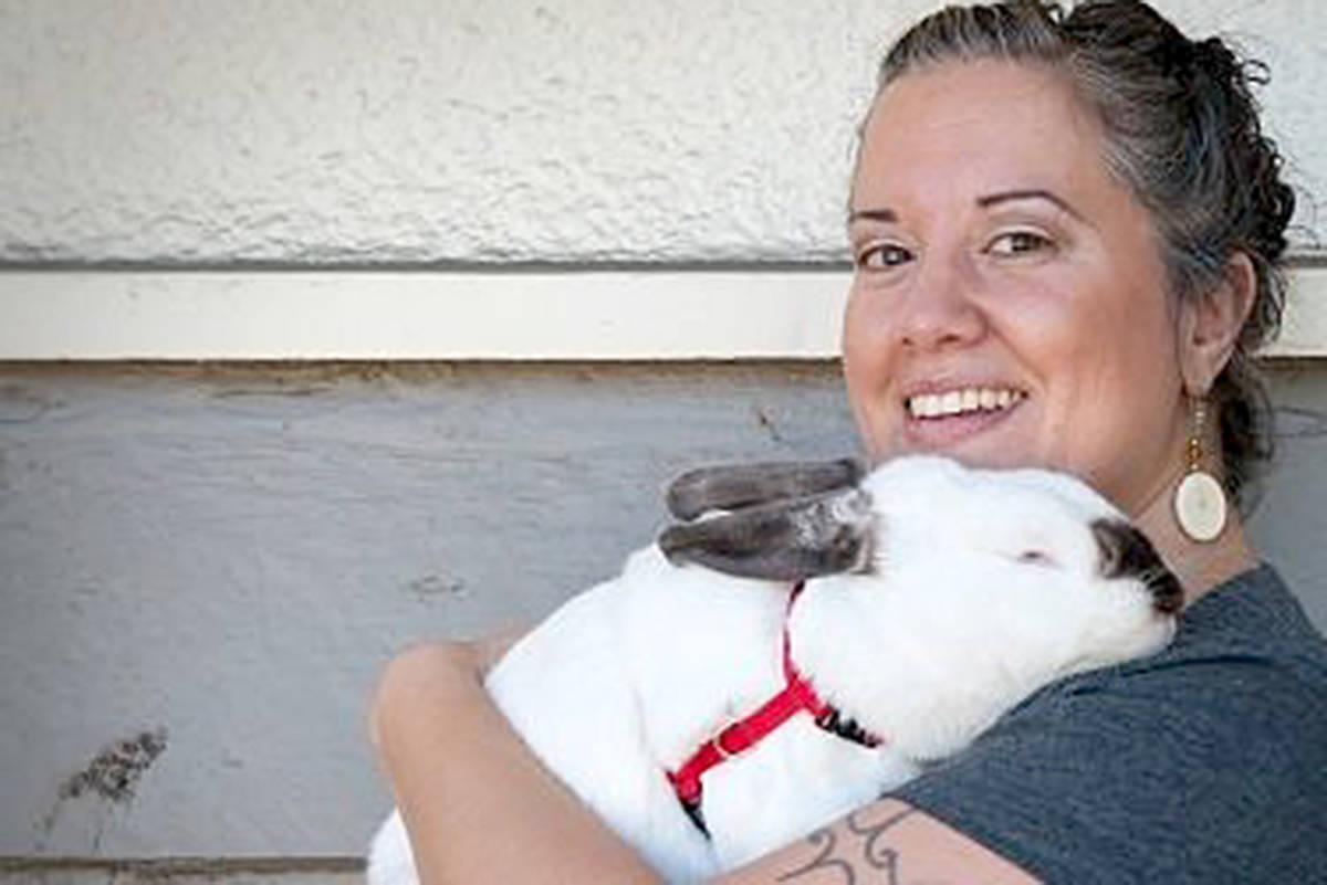 SARS volunteer Marina Hebert with her bunny, Myrtle. (Rebecca Blisset photo)