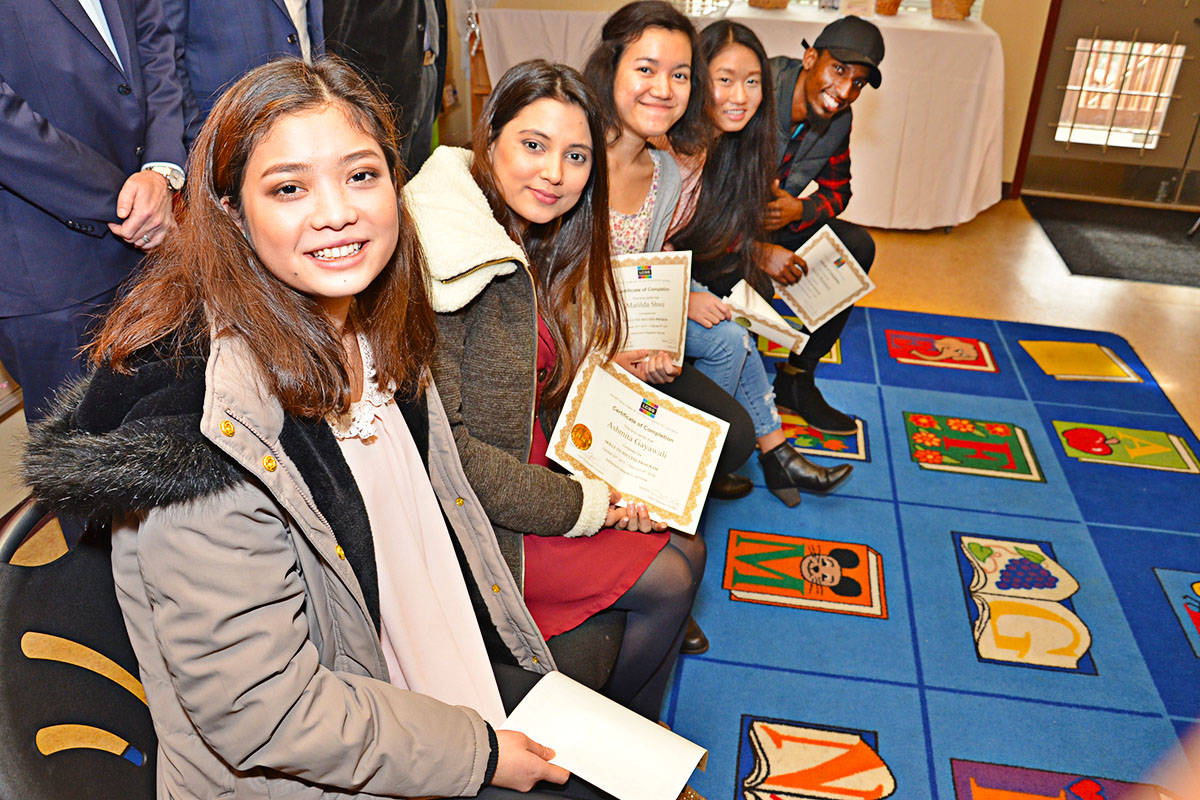 Ko Wah Sha, Ashmita Gayawali, Matilda Shwe, K'Bae Yo, and Mandela Mutabazi were in the first class of the Skills for Success Program to help young people find employment. (Heather Colpitts/Langley Advance)