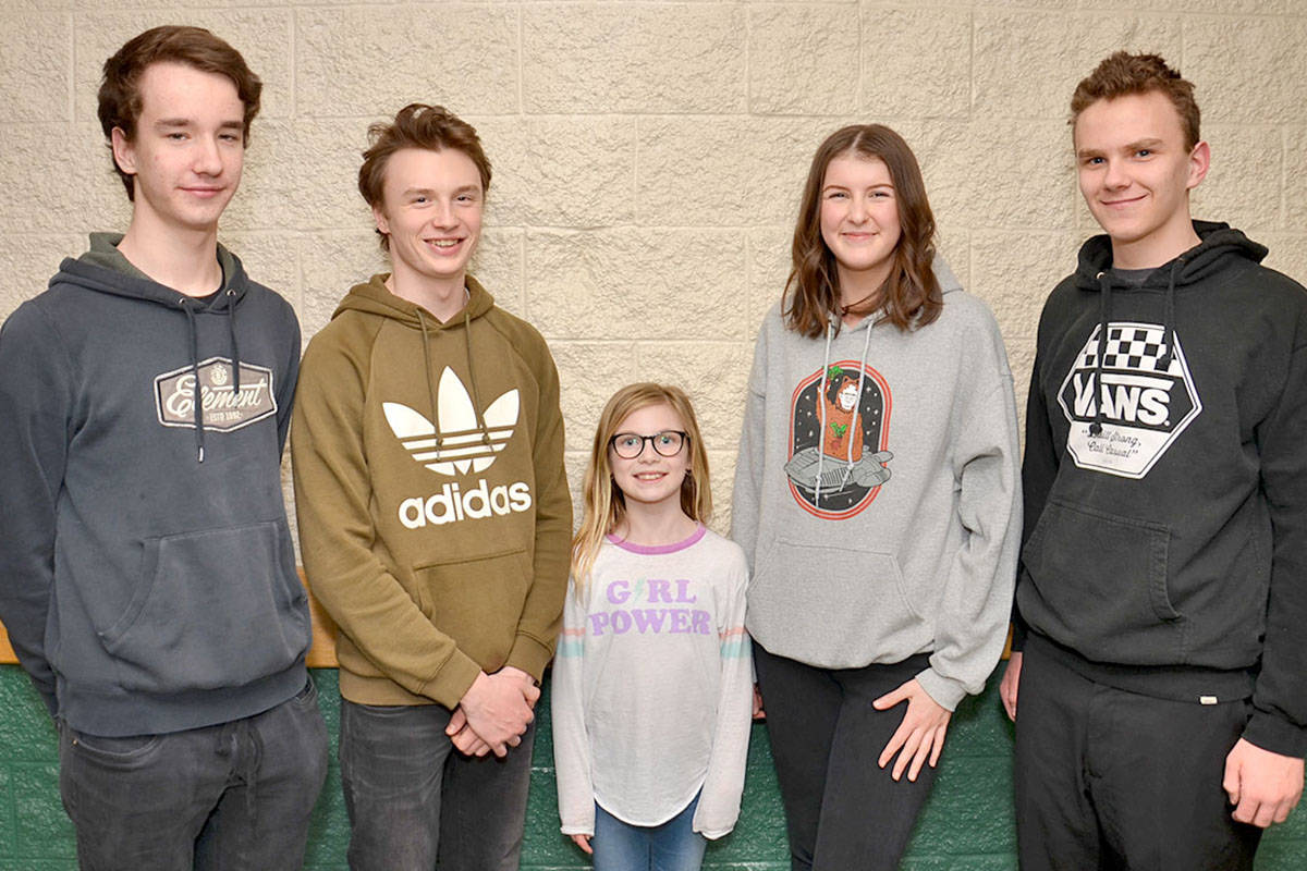 Grade 4 student Ava Stumph is surrounded by older actors, musicians and crew such as Logan Hutchins, Fin Morosan, Danielle Collins and Dakota Hutchins but she isn't fazed. (Heather Colpitts/Langley Advance)