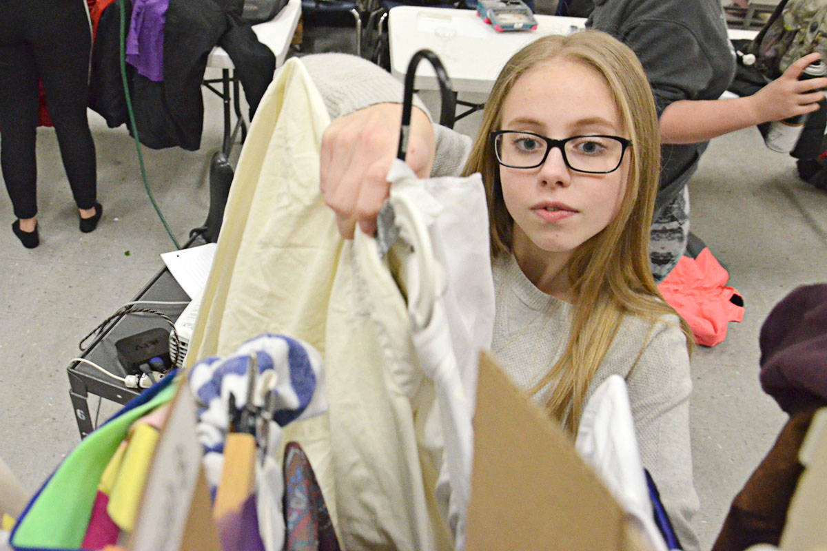 Sasha Neumann, Grade 11, will portray three different people as well as a tree during the course of the show, requiring cquick costume changes. (Heather Colpitts/Langley Advance)