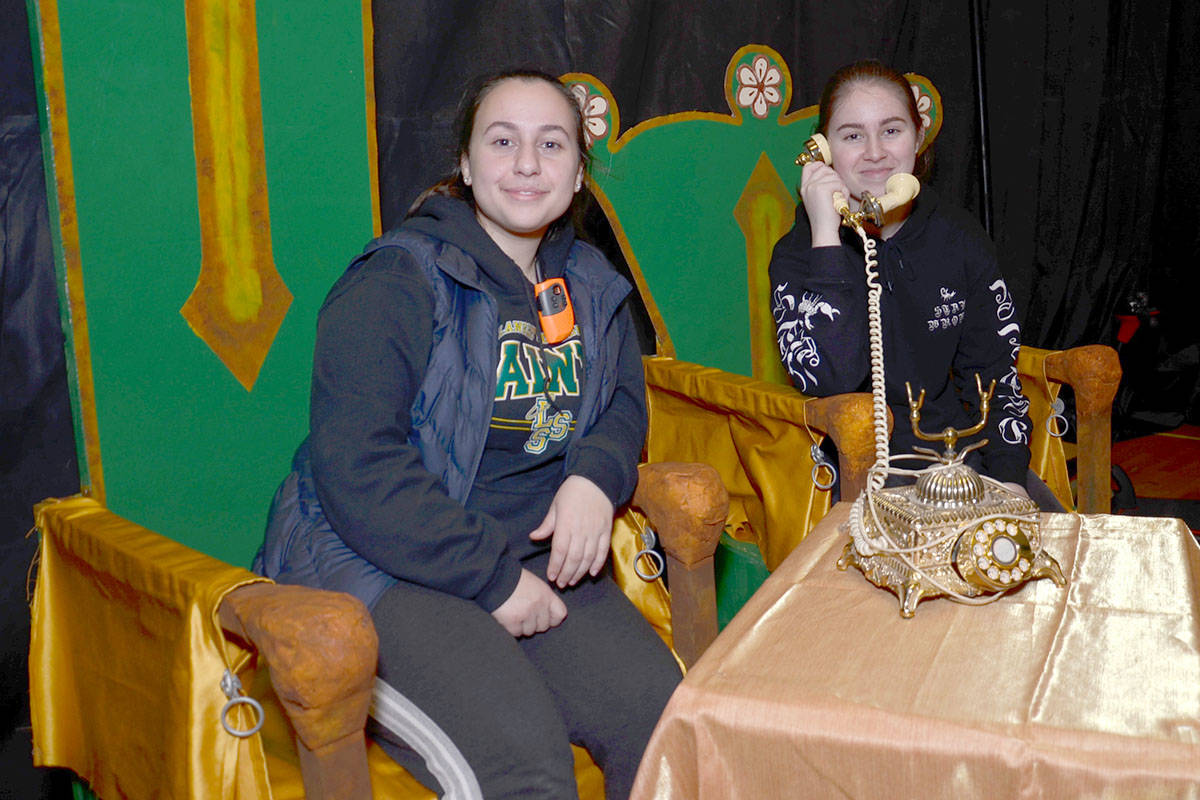 Grade 10 students Elta Raci and Adelina Konjuhi are some of the crew members who ensure sets and props are where they need to be when they need to be. (Heather Colpitts/Langley Advance)