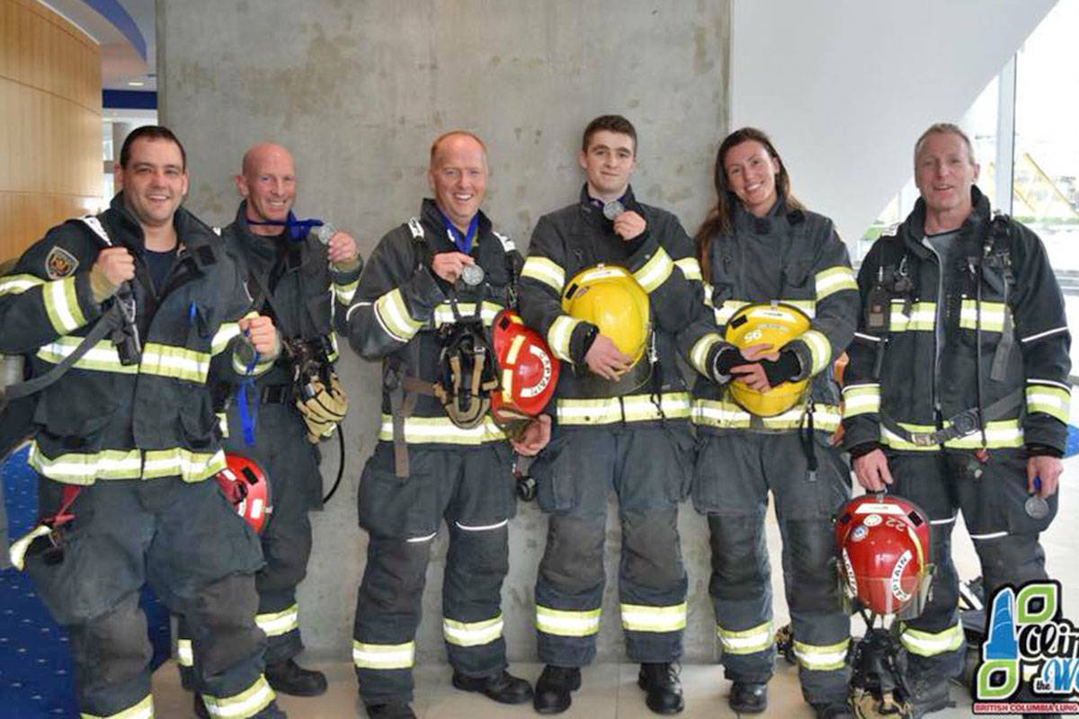 Firefighters from Langley Township, members of IAFF 4550, took part in the Climb the Wall 2018 in February in support of the BC Lung Association. (Submitted photo)