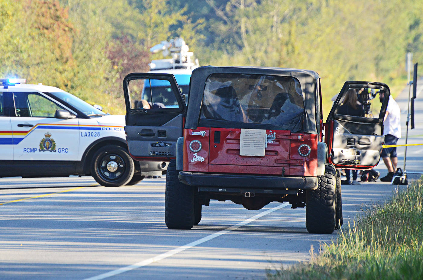 A vehicle investigated by Langley RCMP and IHIT near the scene of a double homicide on Sept. 1. (Langley Advance files)