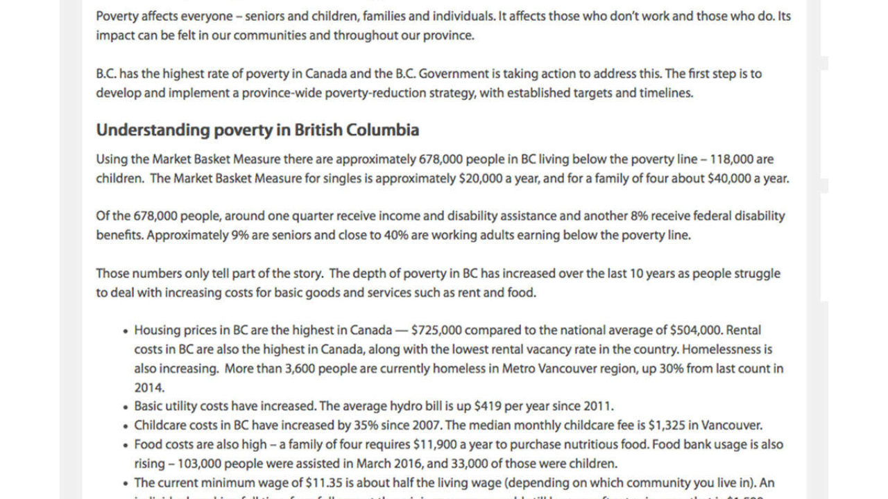 The Depths Of How Poverty Affects >> Province Wants Langley Residents Input On How To Tackle Poverty