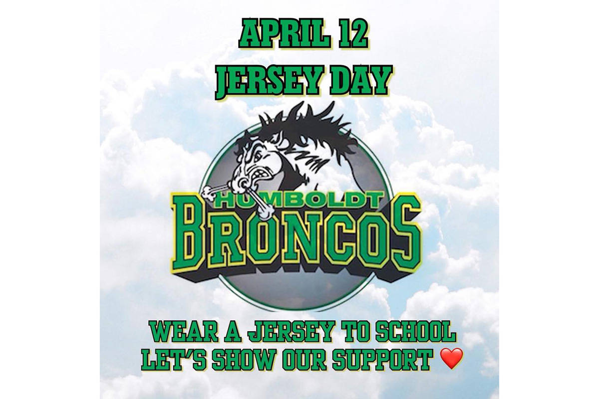 Langley families started a campaign to have Canadian kids wear their hockey jerseys to school on April 12 as a show of support for the Humboldt Broncos. It has since evolved into a call for people to wear any sports jersey on Thursday to show support. (From Facebook)