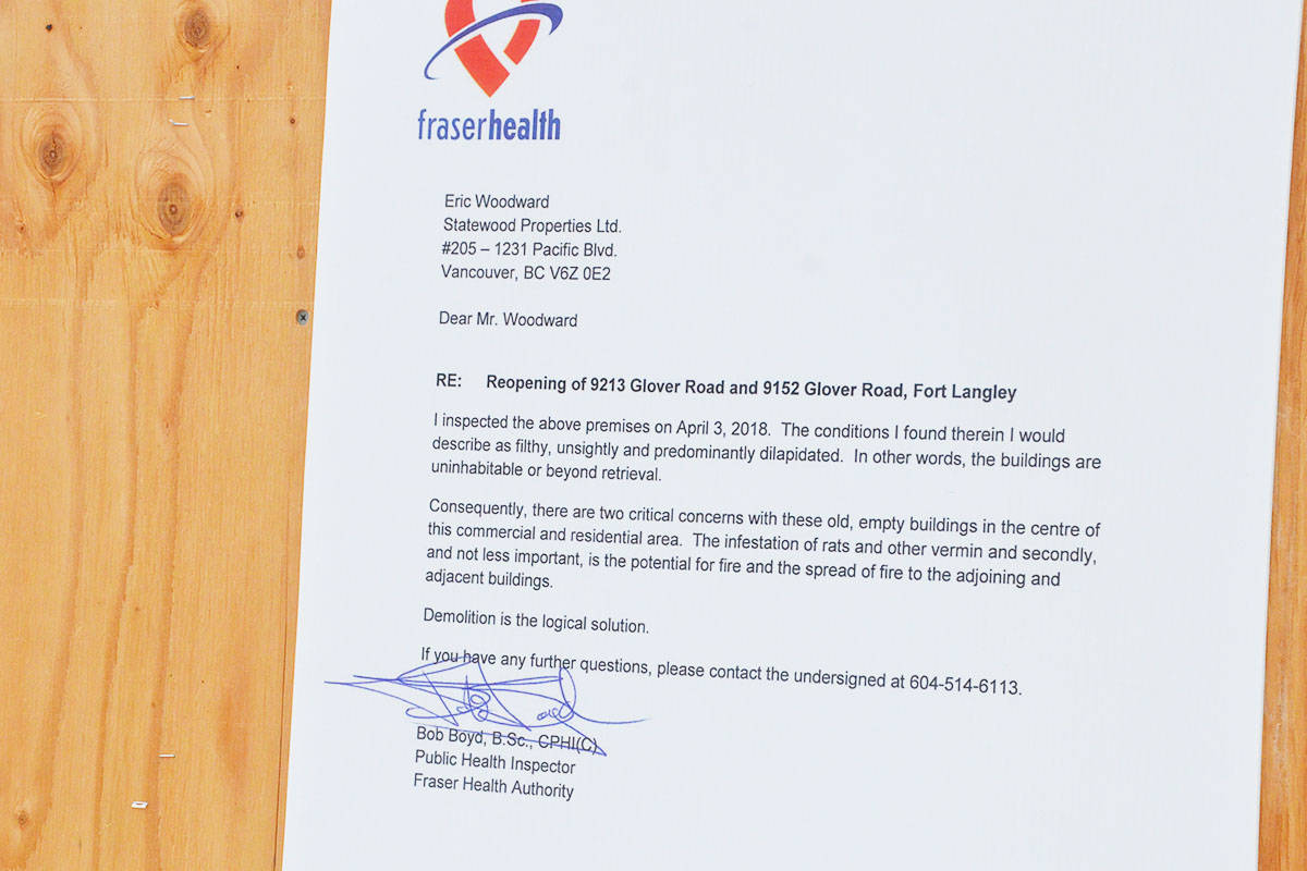 This letter was posted on two buildings in Fort Langley last week. (Matthew Claxton/Langley Advance)