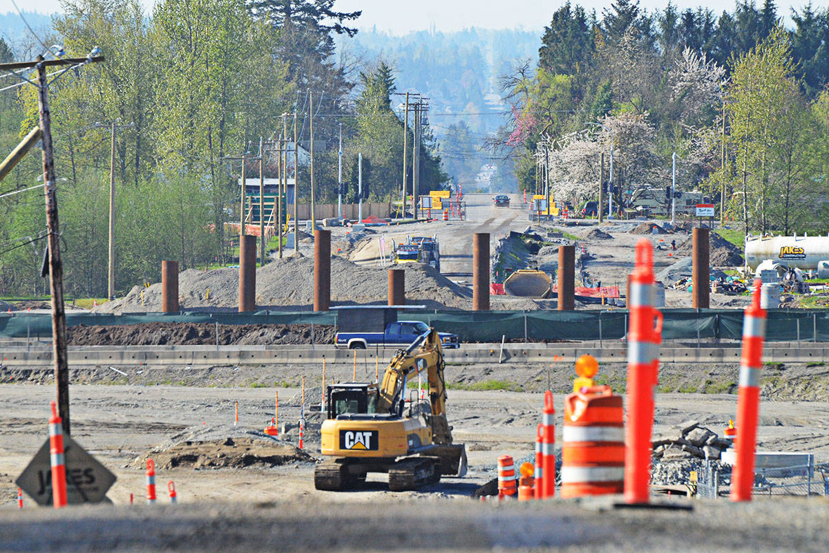 Pilings are sprouting in the middle of Highway One as the new interchange is built. (Matthew Claxton/Langley Advance)