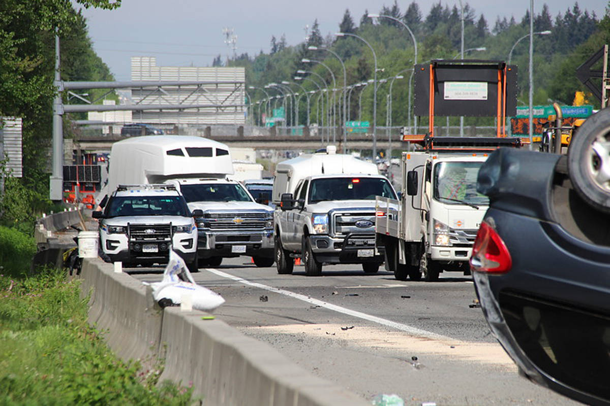 VIDEO: Early Sunday rollover closes of Highway 1 on Langley-Surrey border