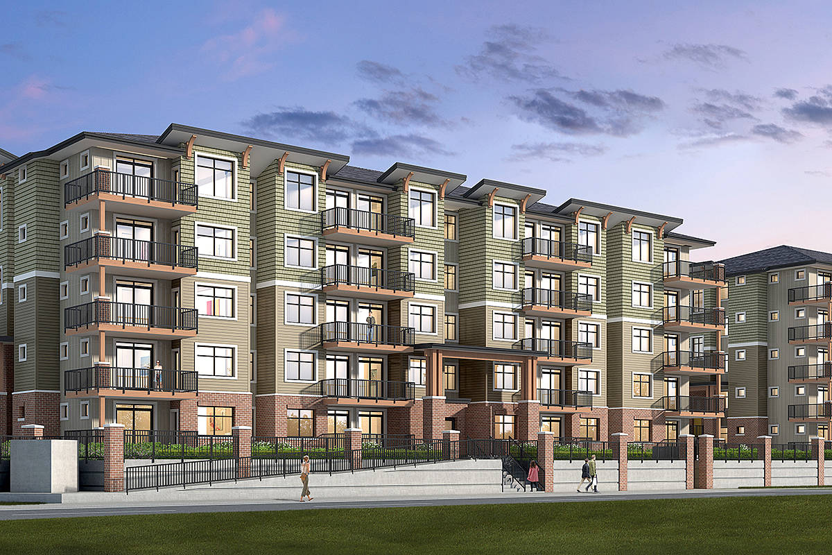 The Georgia, two five-storey condo buildings depicted in this artist's rendering, are expected to be complete by January 2020 at Eastleigh Crescent and 56th Avenue.
