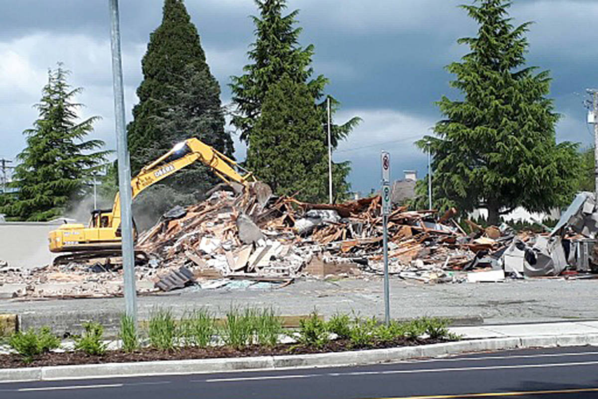 The last of the old Langley legion building on Eastleigh Crescent was demolished last week, making room for two condo buildings, called The Georgia. (Caroline Rose/Special to the langley Advance)