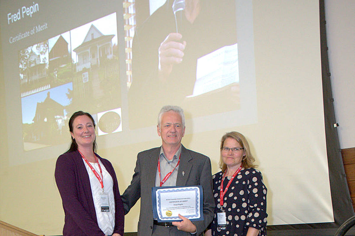 Fellow Langley historian Mark Forsythe and Langley author Jane Watt (right) were in Nakusp for the BC Historical Federation event Saturday. Forsythe accepted the award on Pepin's behalf, from awards chair Shannon Bettles (left). (Darren Durupt/Special to the Langley Advance)