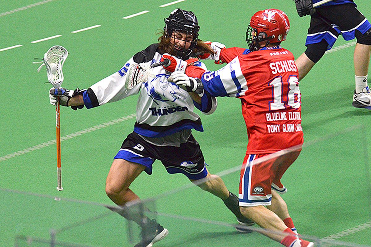 Langley Thunder emerged victorious in a senior A lacrosse competition against the Salmonbellies Wednesday at LEC. (Gary Ahuja/Langley Events Centre)