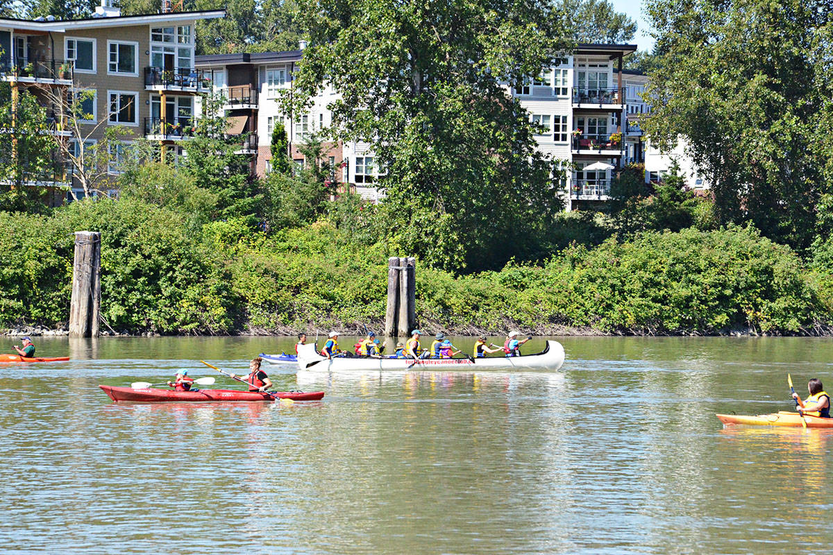 Various watercraft were out on Bedford Channel Saturday morning with several people trying out paddling at a community event. (Heather Colpitts/Langley Advance)
