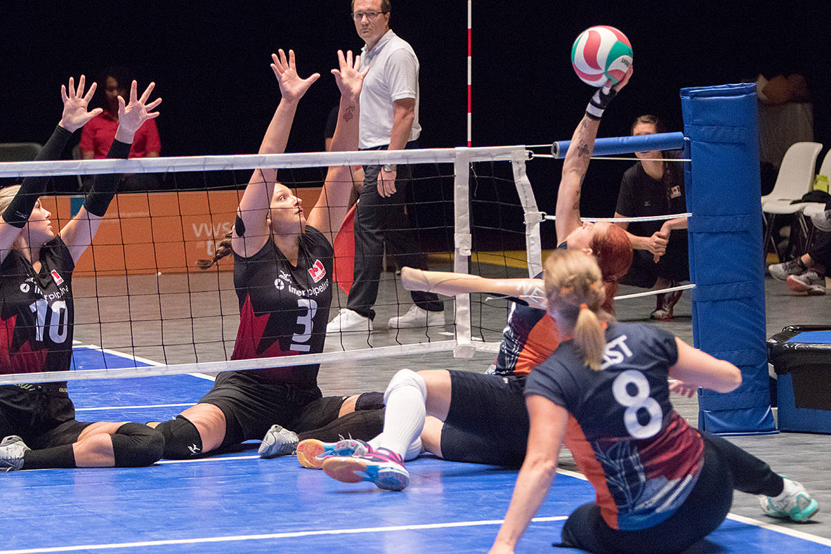 Langley's Danielle Ellis trains twice a week with teammate Felicia Voss-Shafiq of Burnaby, travels to Edmonton once a month to train with the entire team, works out with a strength and conditioning coach at the gym five to six days a week, and sprinkles in some yoga and running for good measure. (World ParaVolley/Special to the Langley Advance)