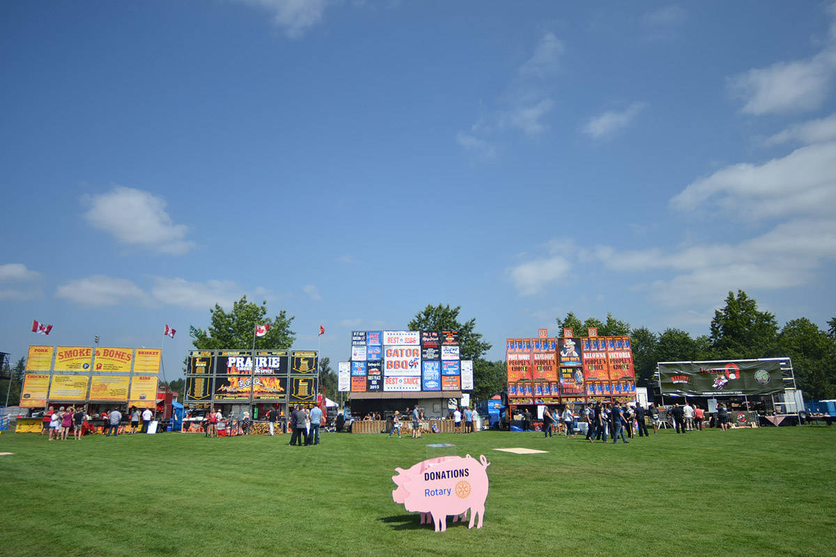Several barbecue stands are on site for Ribfest. (Heather Colpitts/Langley Advance)