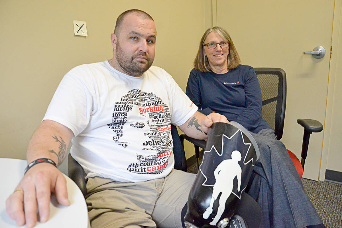 Since a workplace mishap that resulted in his right leg being amputated, Andrew Abley comes to Langley to work with expert Jeannette Jorgenson, with LifeMark, and will be taking part with the LifeMark group at this year's Terry Fox Run in Langley City. (Heather Colpitts/Langley Advance)