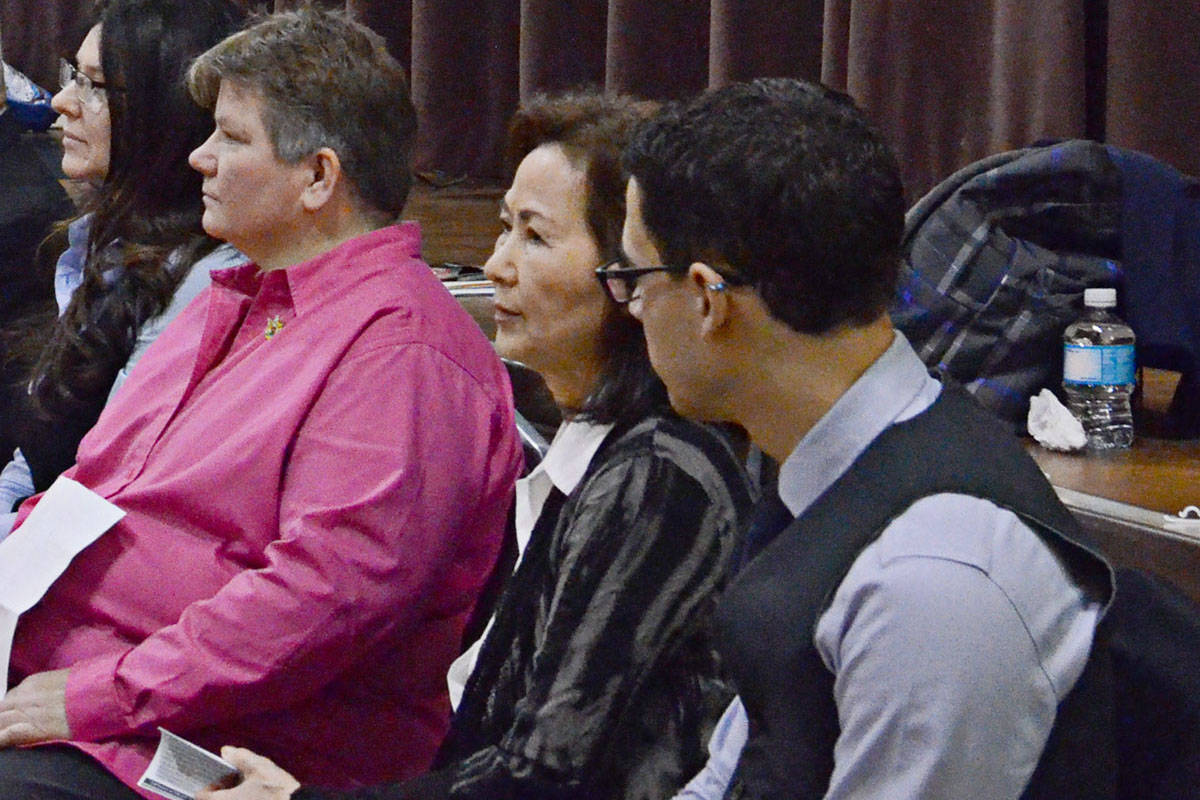 Serena Oh, center, at a debate during the 2016 Langley City byelection. (Langley Advance files)