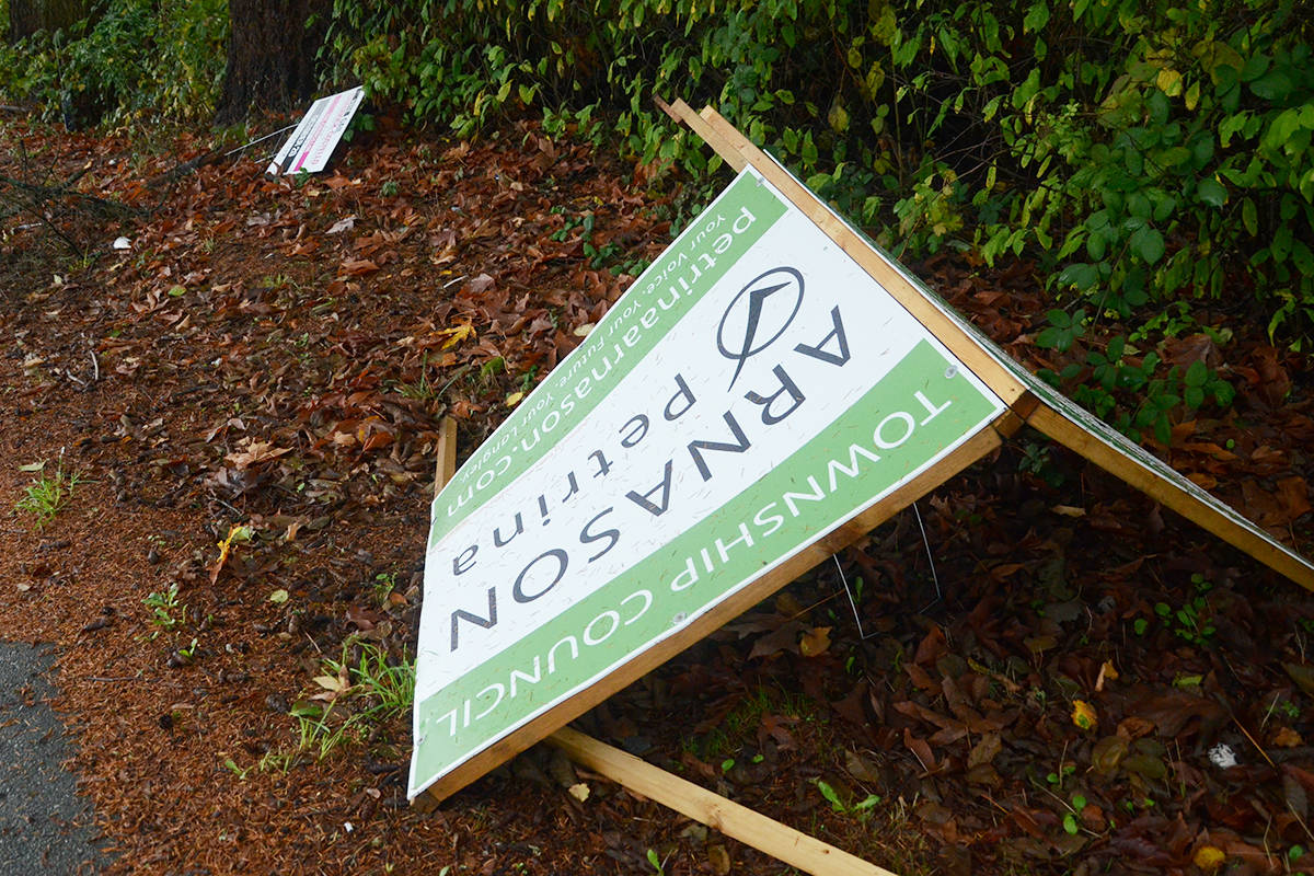 All the damaged signs were in the 7400 block of 208th Street in Willoughby. (Matthew Claxton/Langley Advance)