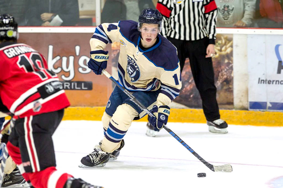 Langley Rivermen's forward Ethan Leyh potted 2 goals in the 4-2 victory over Merritt on Saturday in Chilliwack. (Langley Rivermen photo/Special to the Langley Advance)
