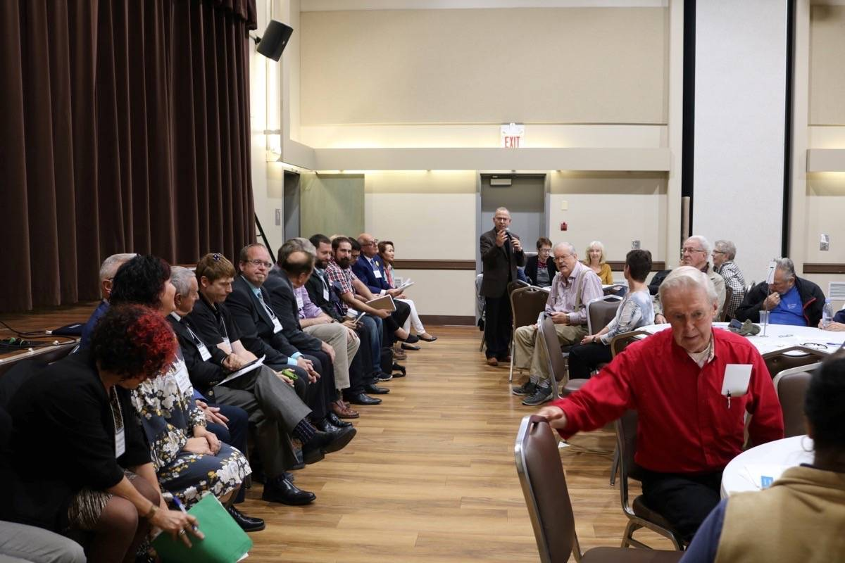 Seniors listen to the City of Langley candidates' closing statements. Miranda Fatur Langley Times