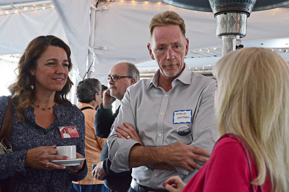 Council candidates Margaret Kunst, Harold Whittell, and Gail Chaddock-Costello chatted at the meet and greet. (Matthew Claxton/Langley Advance)