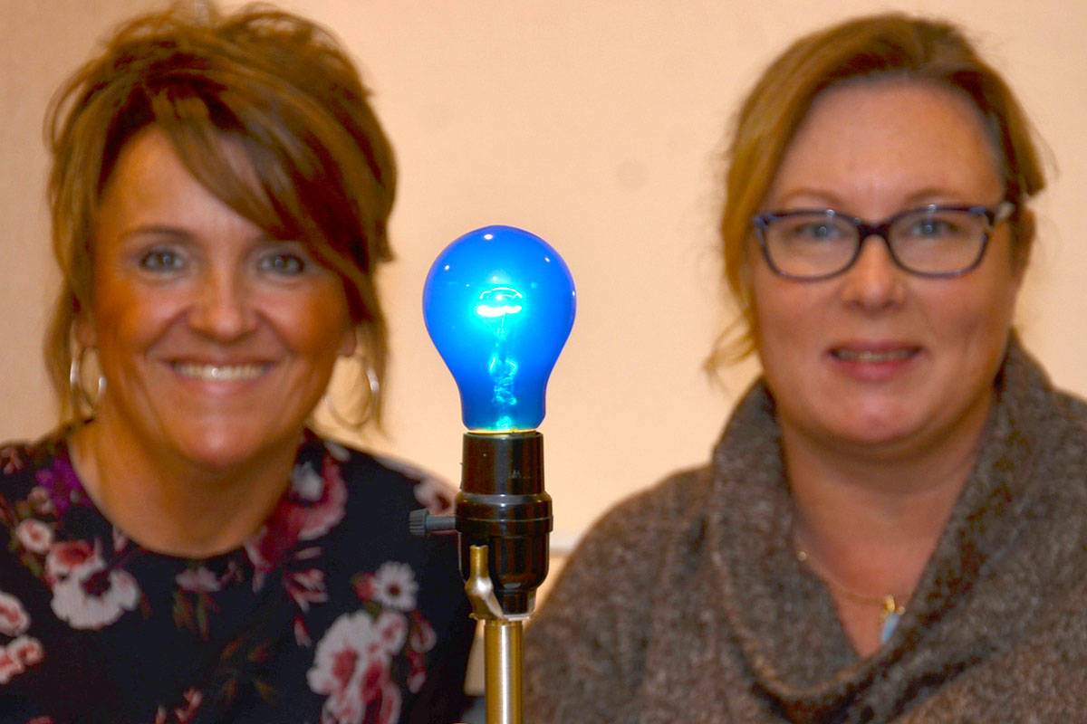 Langley Advance publisher Lisa Farquharson is supporting the Paint the Town Blue campaign by the Langley Hospice Society. Shannon Todd Booth, the society's community and fund development manager, has been visiting local businesses with blue light bulbs. (Heather Colpitts/Langley Advance)