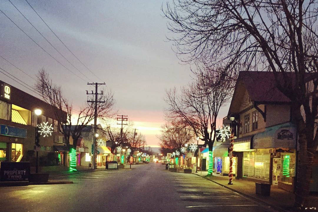 Festive lights and decorations create a seasonal setting in downtown Langley.