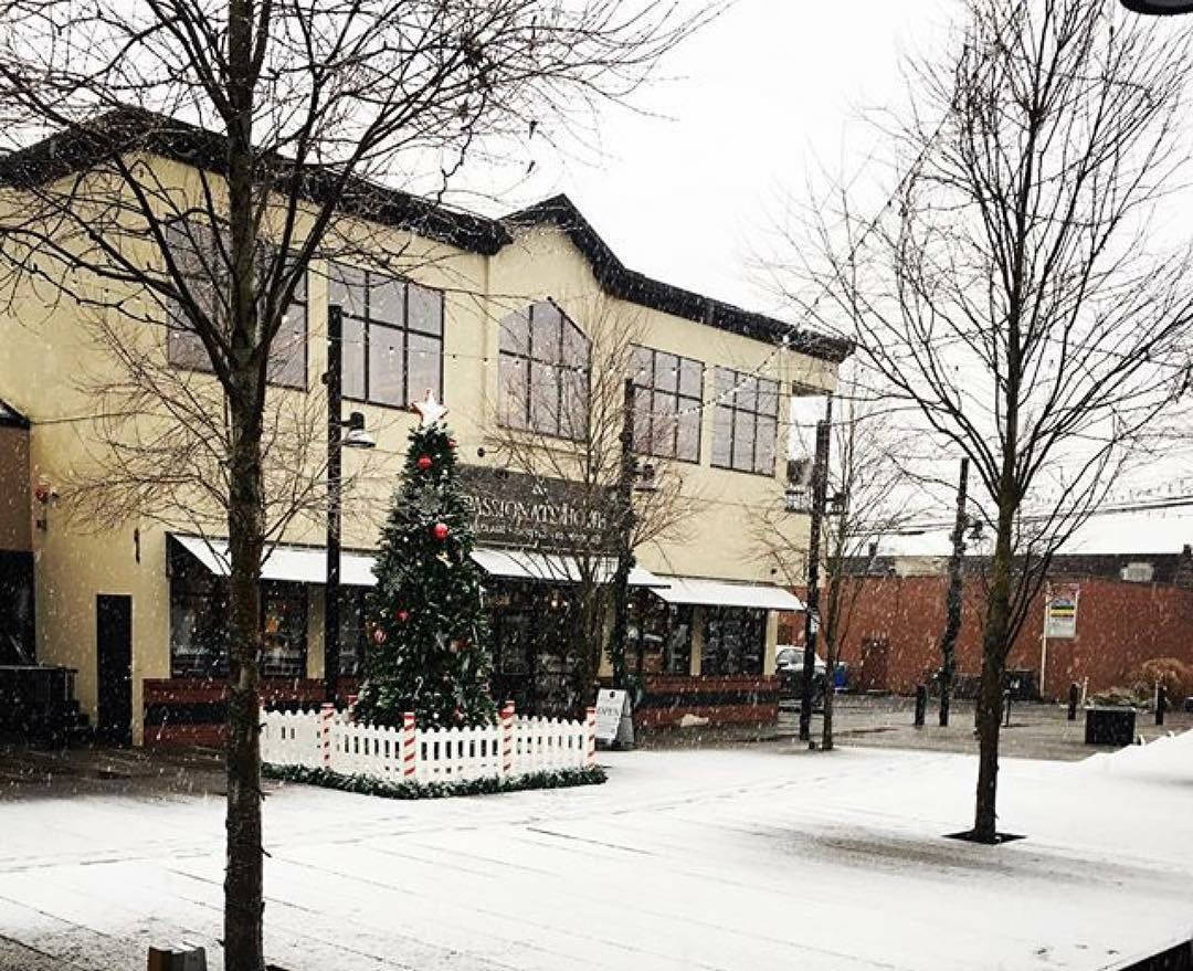 A dusting of snow adds to the holiday ambience in downtown Langley.