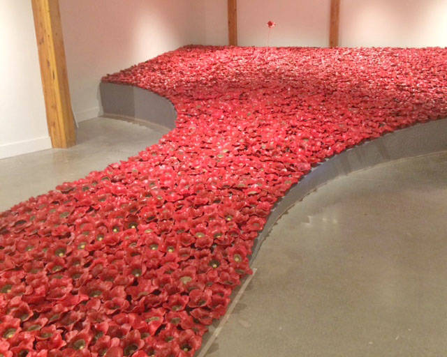 Students from kindergarten through to Grade 12 contributed to the Remembrance exhibit on now at the Mary Pratt Gallery in the Langley Fine Arts School. The public can visit the gallery until Nov. 16. (LFAS photo)