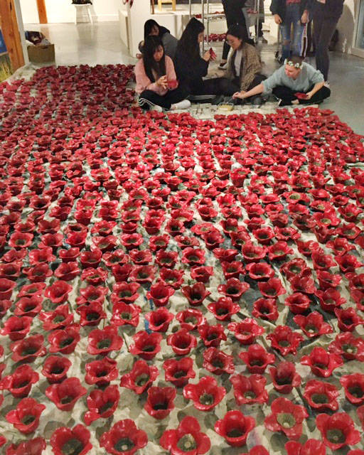 Langley students clay poppies bloom into Remembrance exhibit