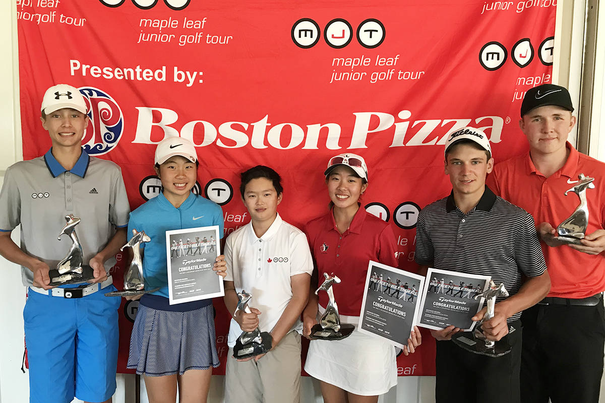 Erin Lee of Langley (second from right) posed with other winners at the MJT Girls U15 National Champion in Phoenix, Arizona. Supplied
