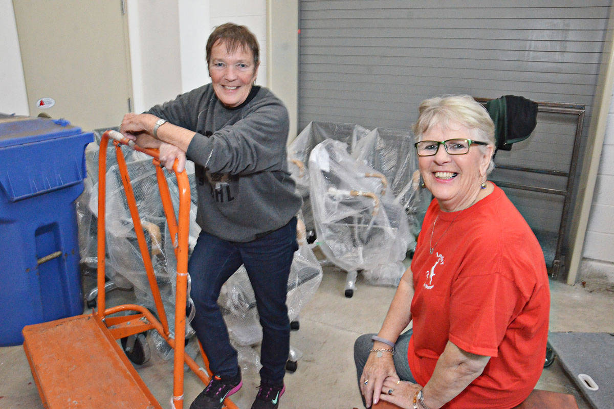 Donalda Whaites and Velma MacAllister are co-ordinating the Langley Christmas Bureau again this year, with the help of a large group of volunteers. (Heather Colpitts/Black Press)