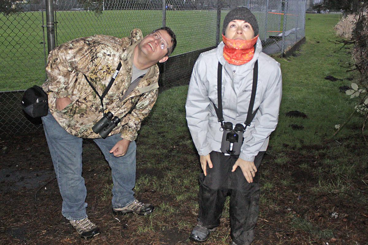 Langley bird count organizer Mike Klotz and volunteer Devon Comstock were looking for species of birds in Milner on Saturday. Black Press photo