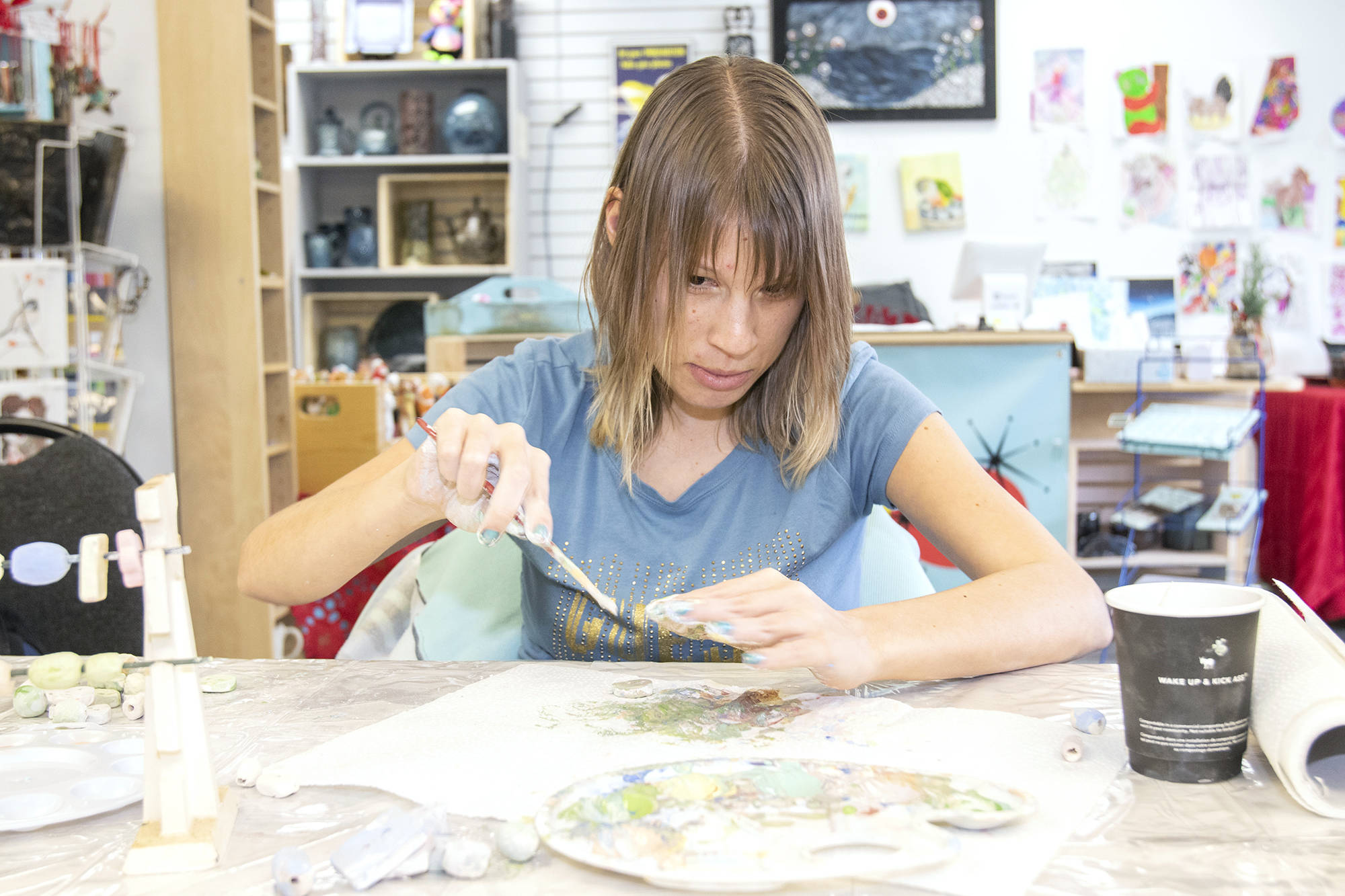 Blind since birth, Jody Hanna has found a way to let her creativity shine at Salmon Arm's Inclusive Arts on Hudson Avenue. (Jodi Brak/Salmon Arm Observer)
