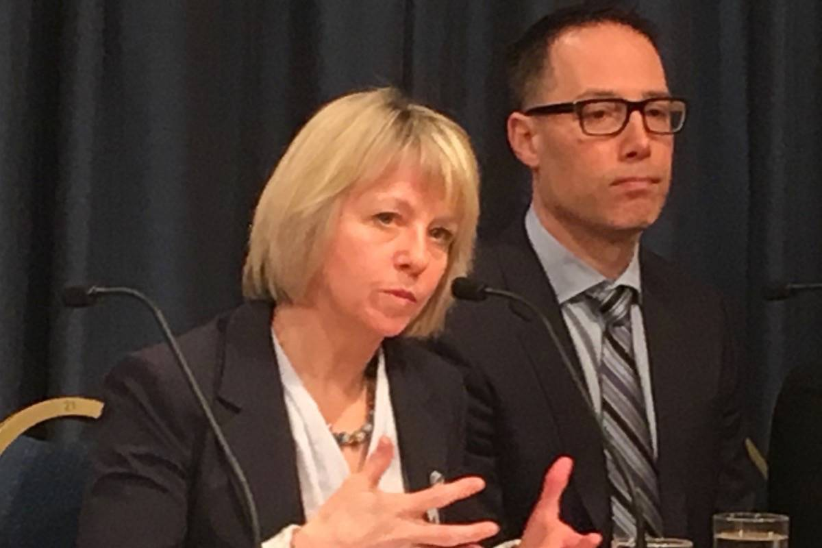 Provincial Health Officer Dr. Bonnie Henry and Dr. Evan Wood from the B.C. Centre for Substance Abuse discuss solutions to overdose deaths in the province, B.C. legislature, Feb. 7, 2019. (Tom Fletcher/Black Press)