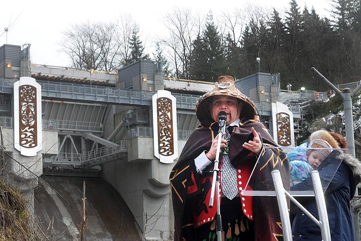 Kwantlen artist Brandon Gabriel talks about the pier panels he designed that now adorn the Ruskin Dam. (Colleen Flanagan/THE NEWS)